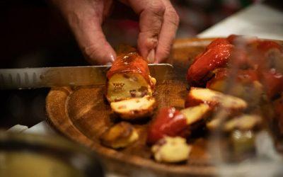 peperone scomposto al prosciutto